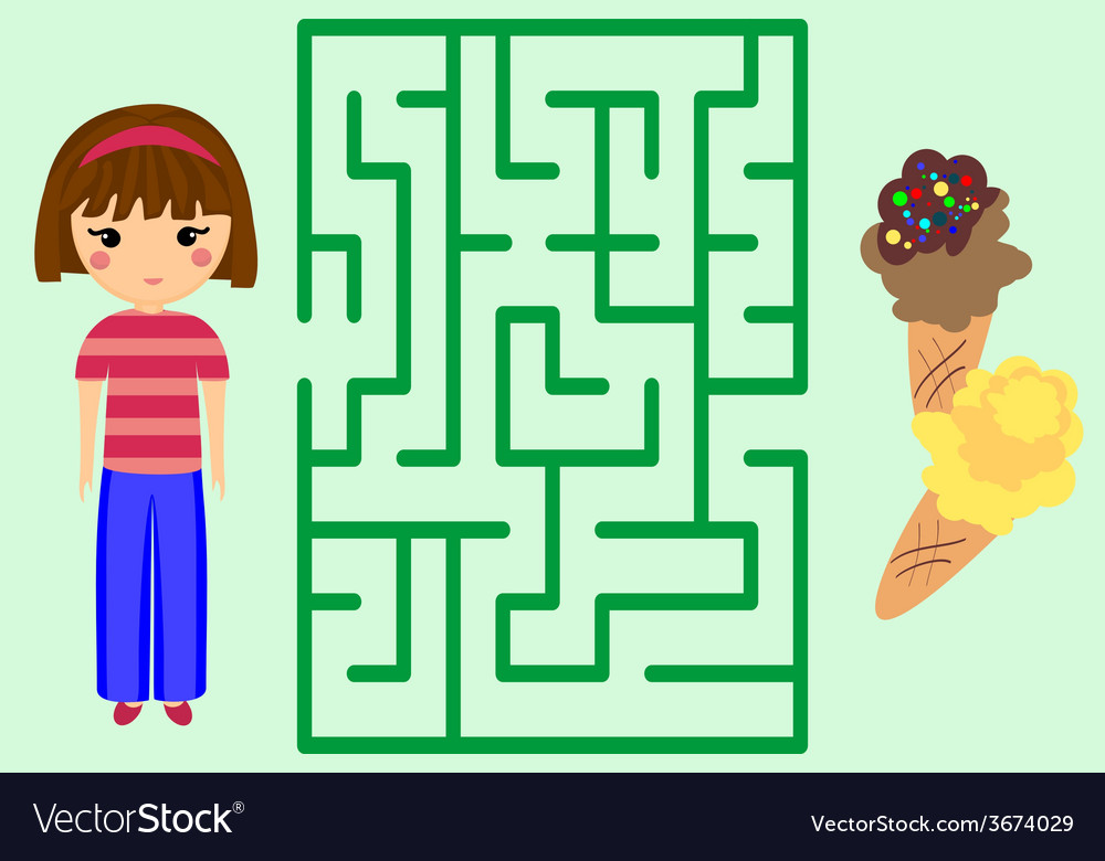 Maze game help the girl to get ice-cream puzzle vector | Price: 1 Credit (USD $1)