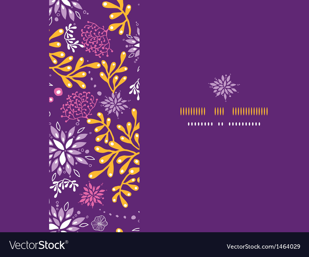 Purple and gold underwater plants frame horizontal vector | Price: 1 Credit (USD $1)