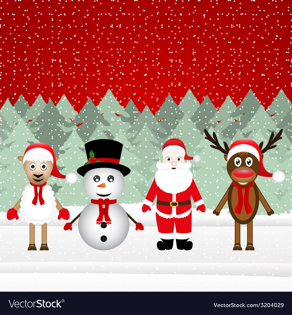 Santa claus reindeer snowman and sheep vector | Price: 1 Credit (USD $1)