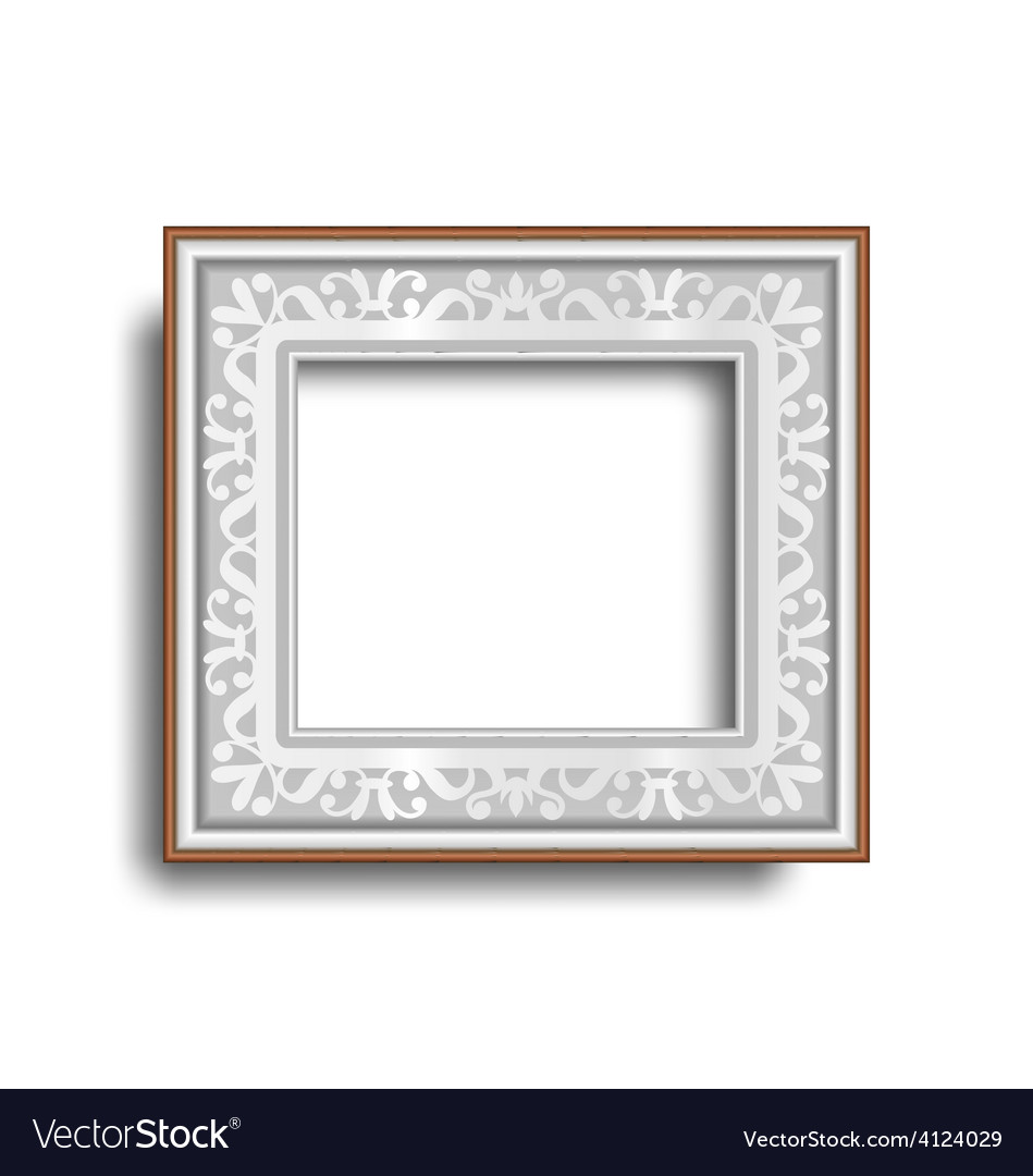 Silver frame with ornament isolated on white vector | Price: 1 Credit (USD $1)