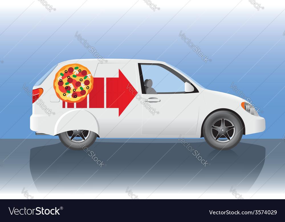 White pizza delivery car vector | Price: 1 Credit (USD $1)