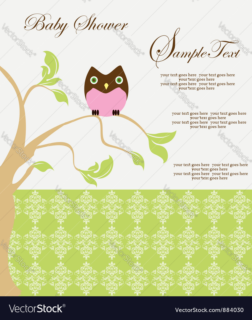 Baby shower card with owl vector | Price: 1 Credit (USD $1)