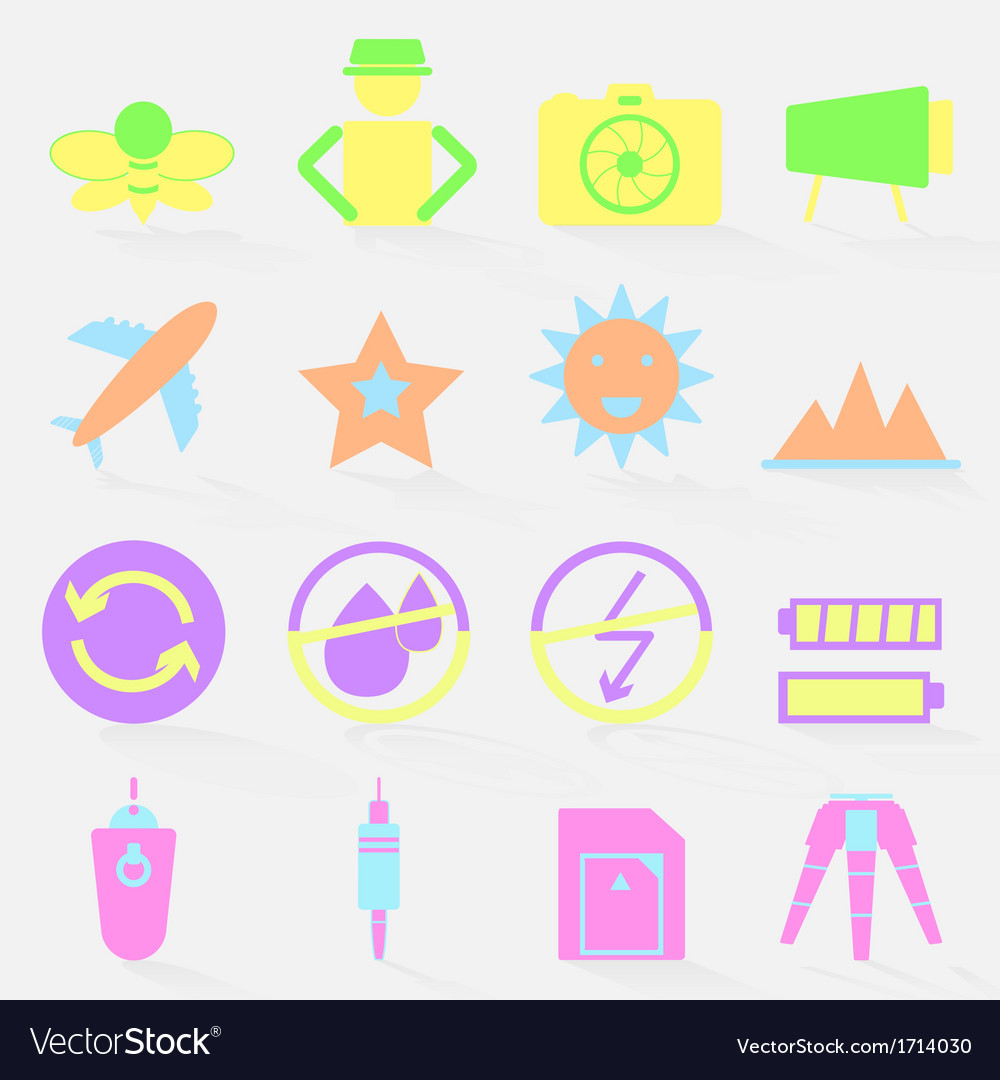 Camera shooting color icons with shadow vector   Price: 1 Credit (USD $1)