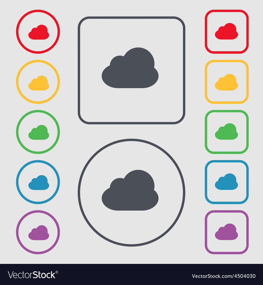Cloud icon sign symbol on the round and square vector | Price: 1 Credit (USD $1)