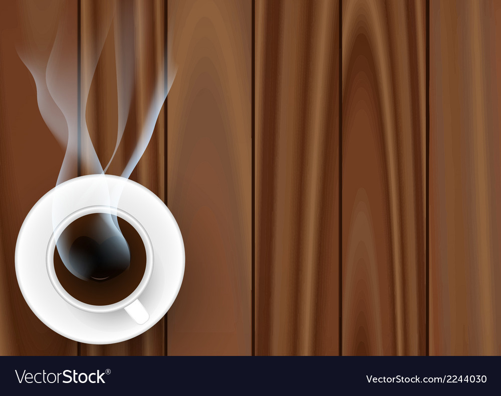 Coffee cup against wooden background vector | Price: 1 Credit (USD $1)