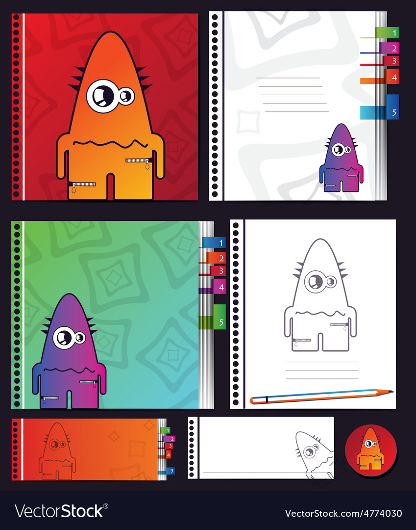 Education objects with monster vector | Price: 1 Credit (USD $1)