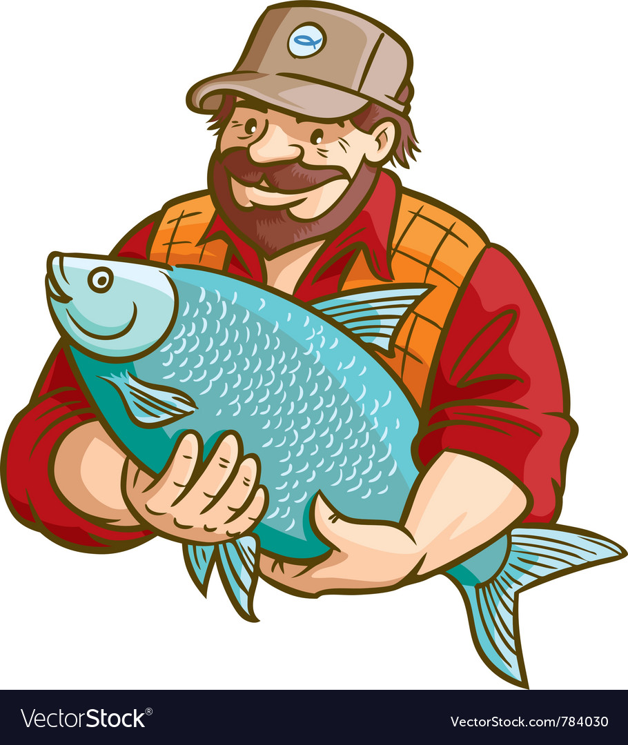 Fisherman with fish vector | Price: 3 Credit (USD $3)