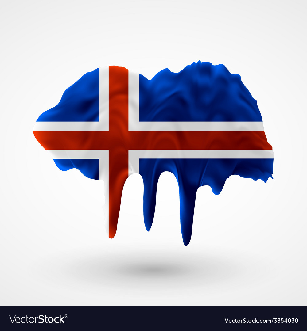 Flag of iceland painted colors vector | Price: 3 Credit (USD $3)