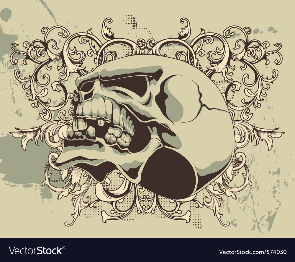 Grunge floral and skull vector | Price: 1 Credit (USD $1)