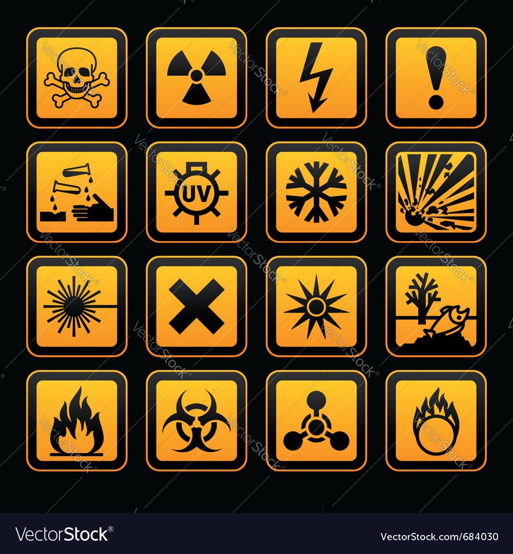 Hazard symbols orange s sign on black background vector | Price: 1 Credit (USD $1)