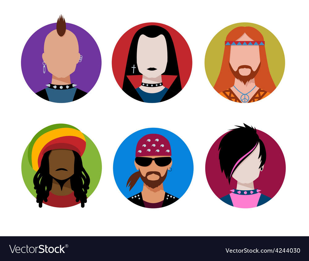 Male characters avatars vector