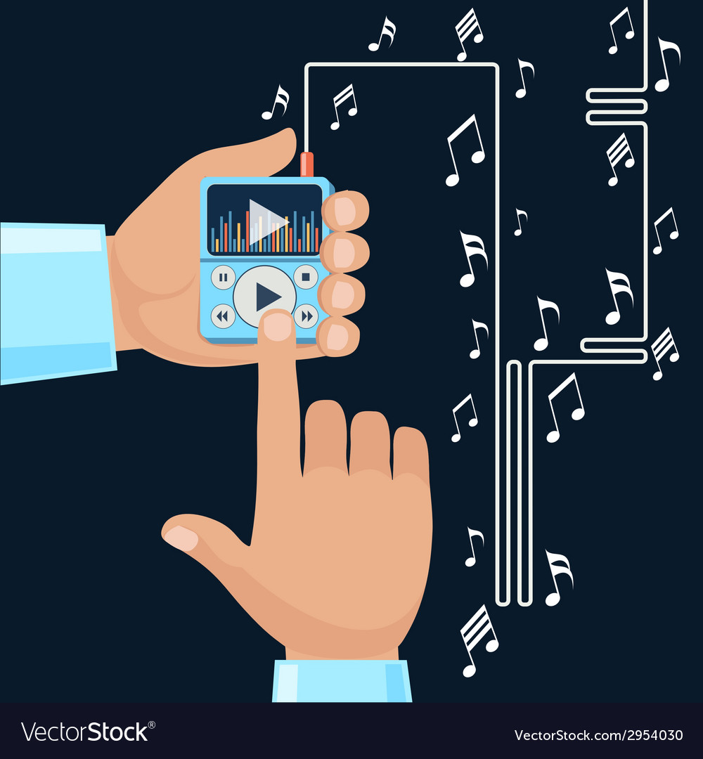 Playing music in mp3 player hands vector | Price: 1 Credit (USD $1)
