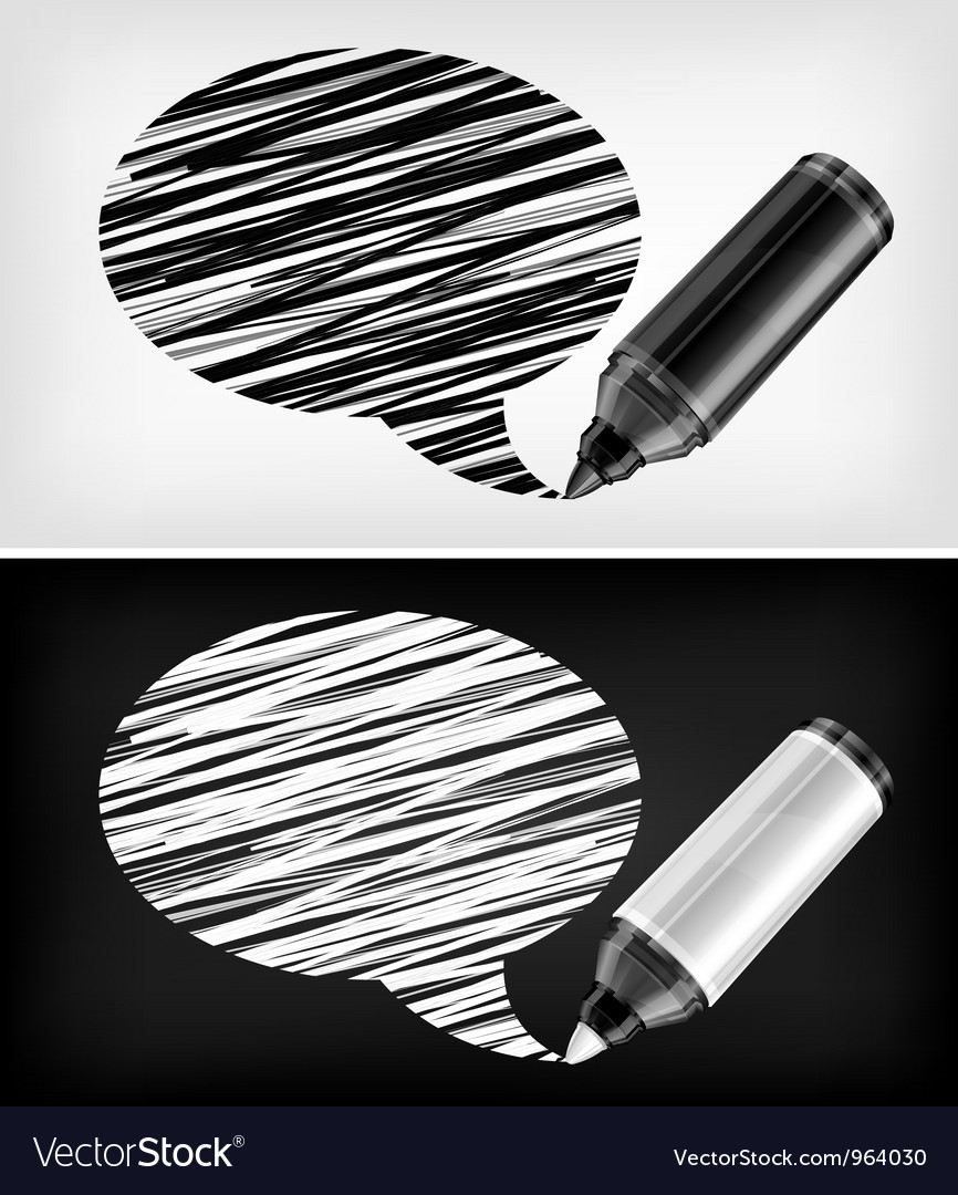 Scribbled speech shapes grayscale felt tip pen v vector | Price: 1 Credit (USD $1)