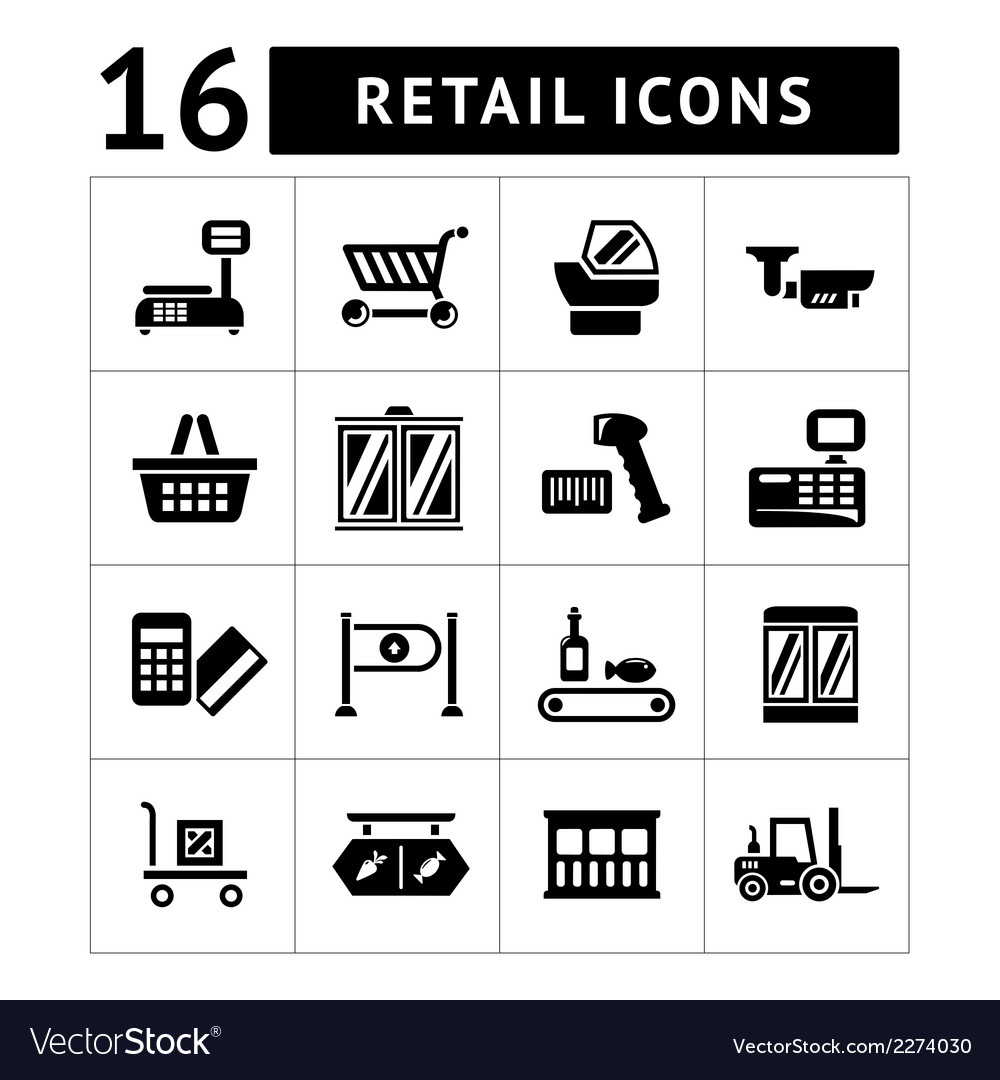 Set icons of retail and supermarket equipment vector | Price: 1 Credit (USD $1)