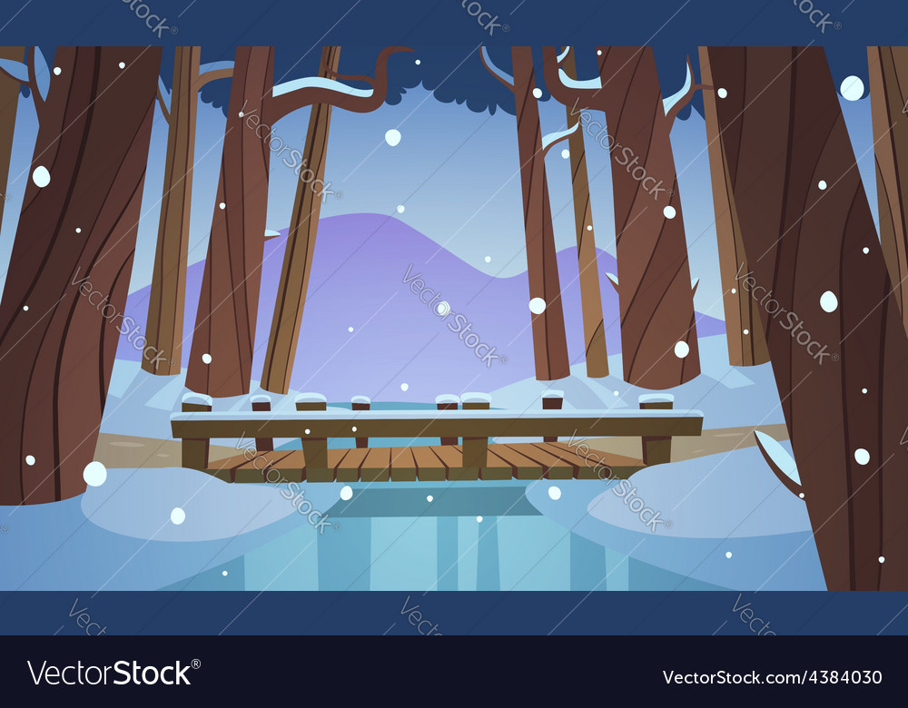 Small wooden bridge in the woods vector | Price: 3 Credit (USD $3)