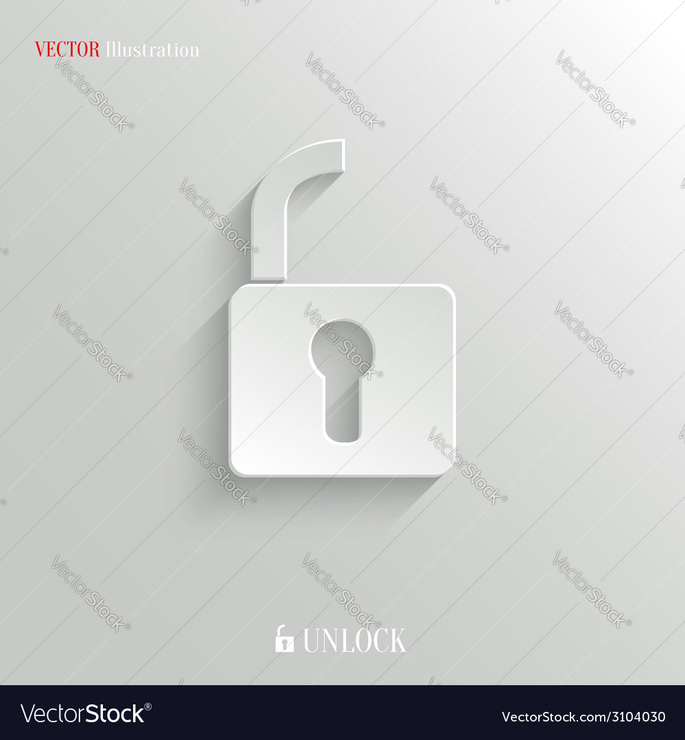 Unlock icon - white app button vector | Price: 1 Credit (USD $1)