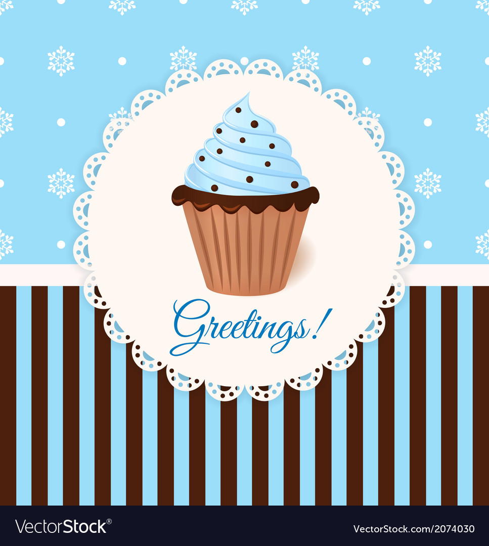 Vintage greetings card with cream cake vector | Price: 1 Credit (USD $1)