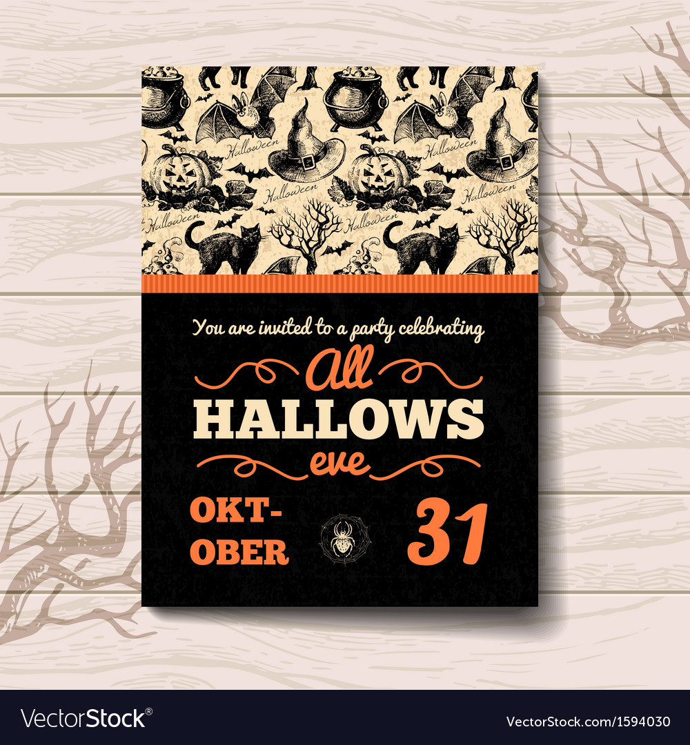 Vintage hand drawn halloween invitation vector | Price: 1 Credit (USD $1)