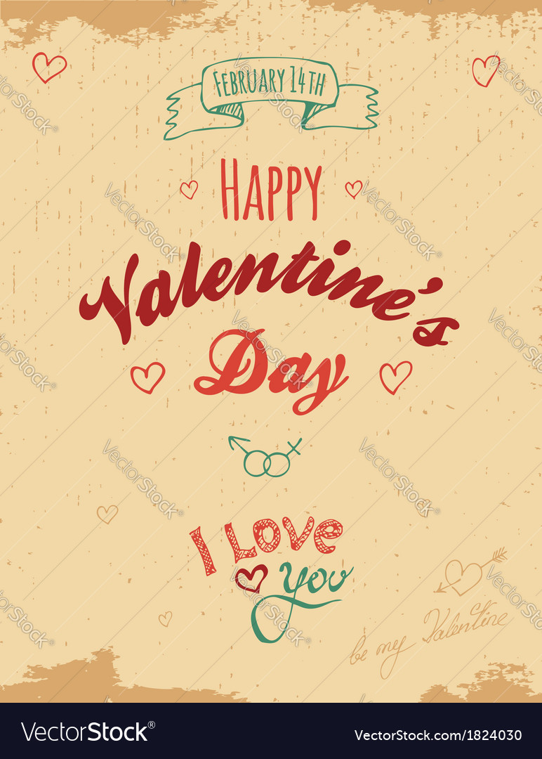 Vintage valentine greeting card vector | Price: 1 Credit (USD $1)