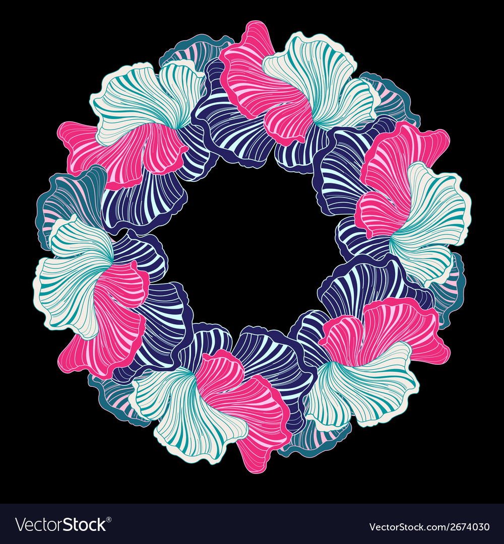 Wreath of abstract floral elements vector | Price: 1 Credit (USD $1)