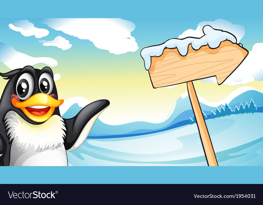 A penguin beside the wooden arrow signboard vector | Price: 3 Credit (USD $3)