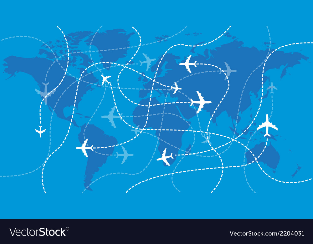 Airplanes traces over the world map vector | Price: 1 Credit (USD $1)