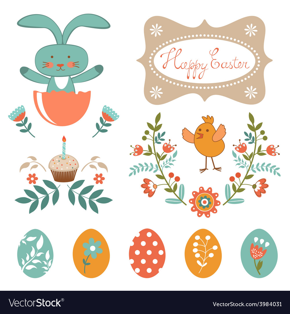 Beautiful easter collection vector | Price: 1 Credit (USD $1)