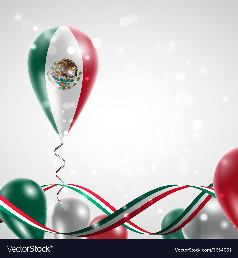 Flag of mexico on balloon vector | Price: 1 Credit (USD $1)