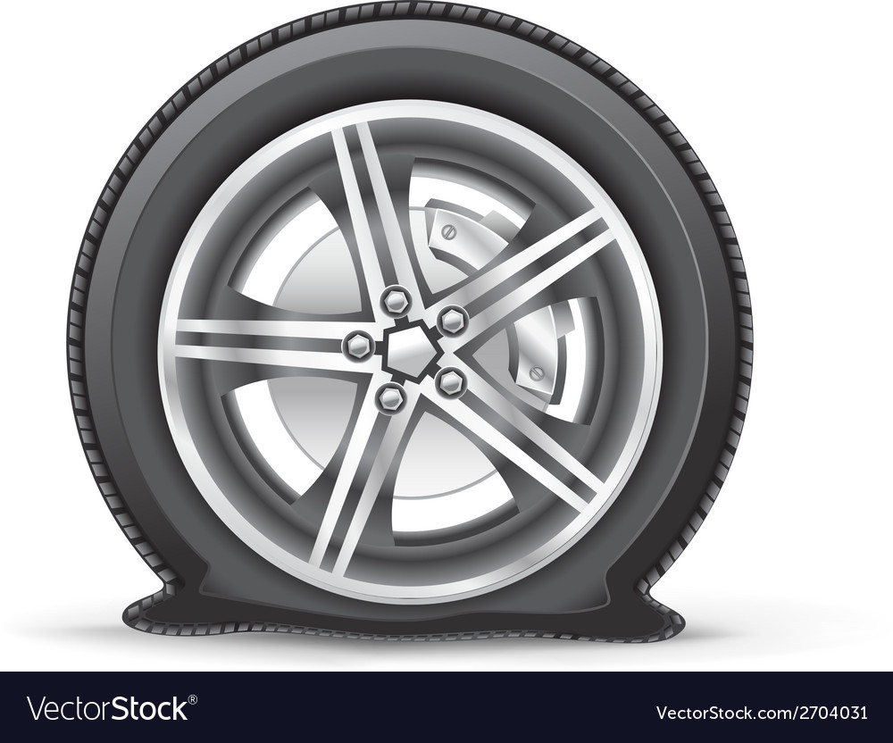 Flat tire vector | Price: 1 Credit (USD $1)