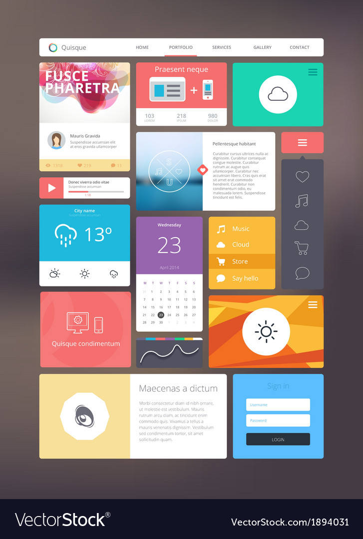 Flat ui kit for responsive web design vector