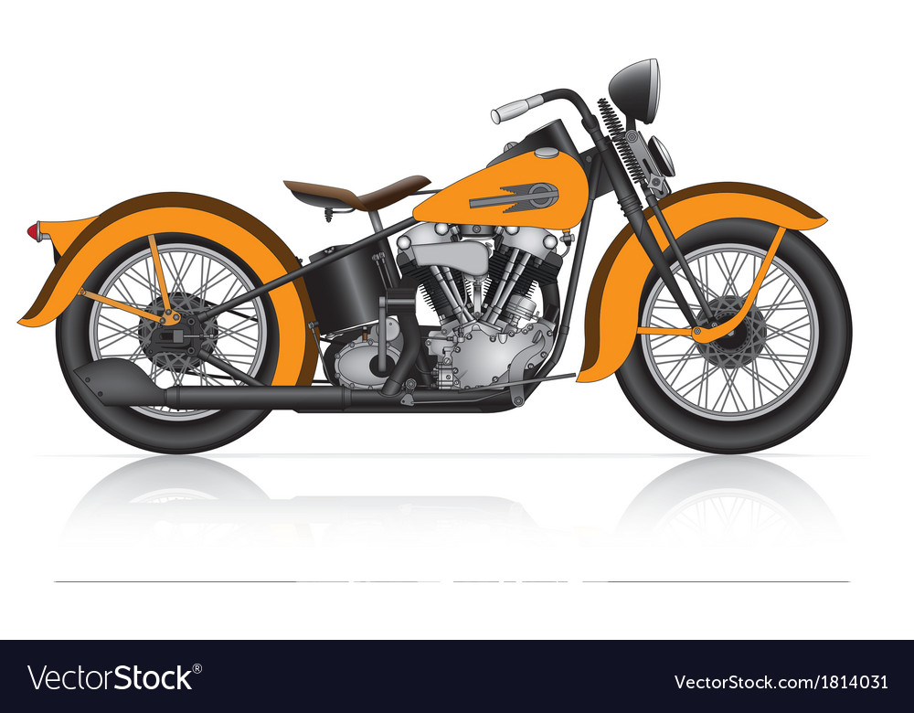 Highly detailed classic motorcycle vector | Price: 1 Credit (USD $1)