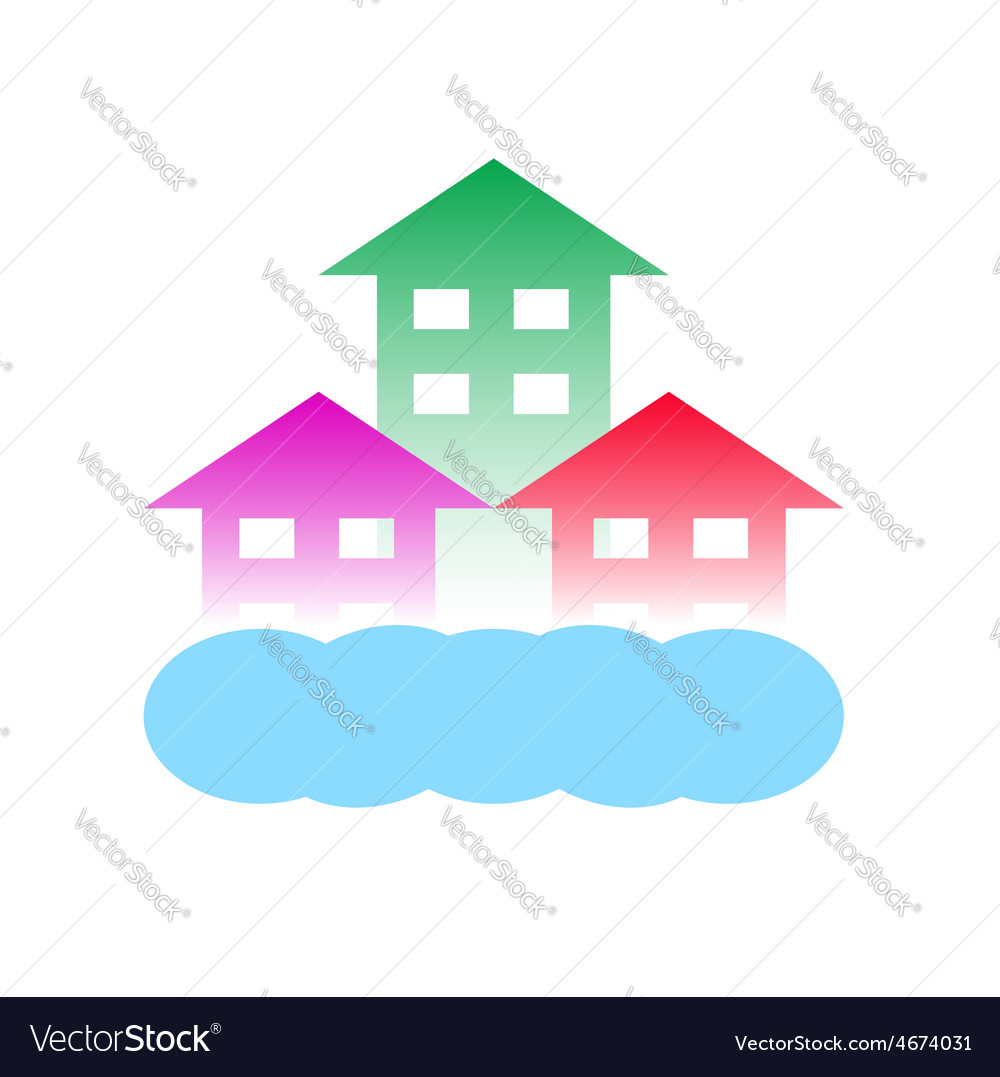Homes with cloud-logo for construction vector | Price: 1 Credit (USD $1)