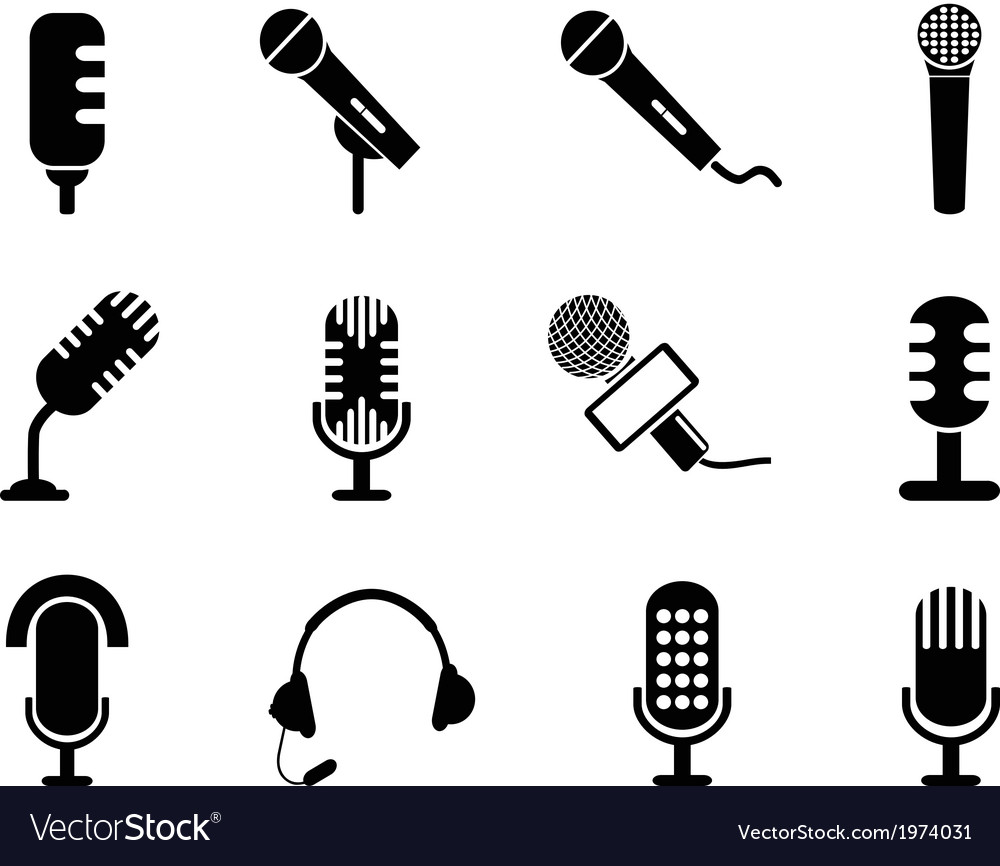 Microphone icons set vector | Price: 1 Credit (USD $1)