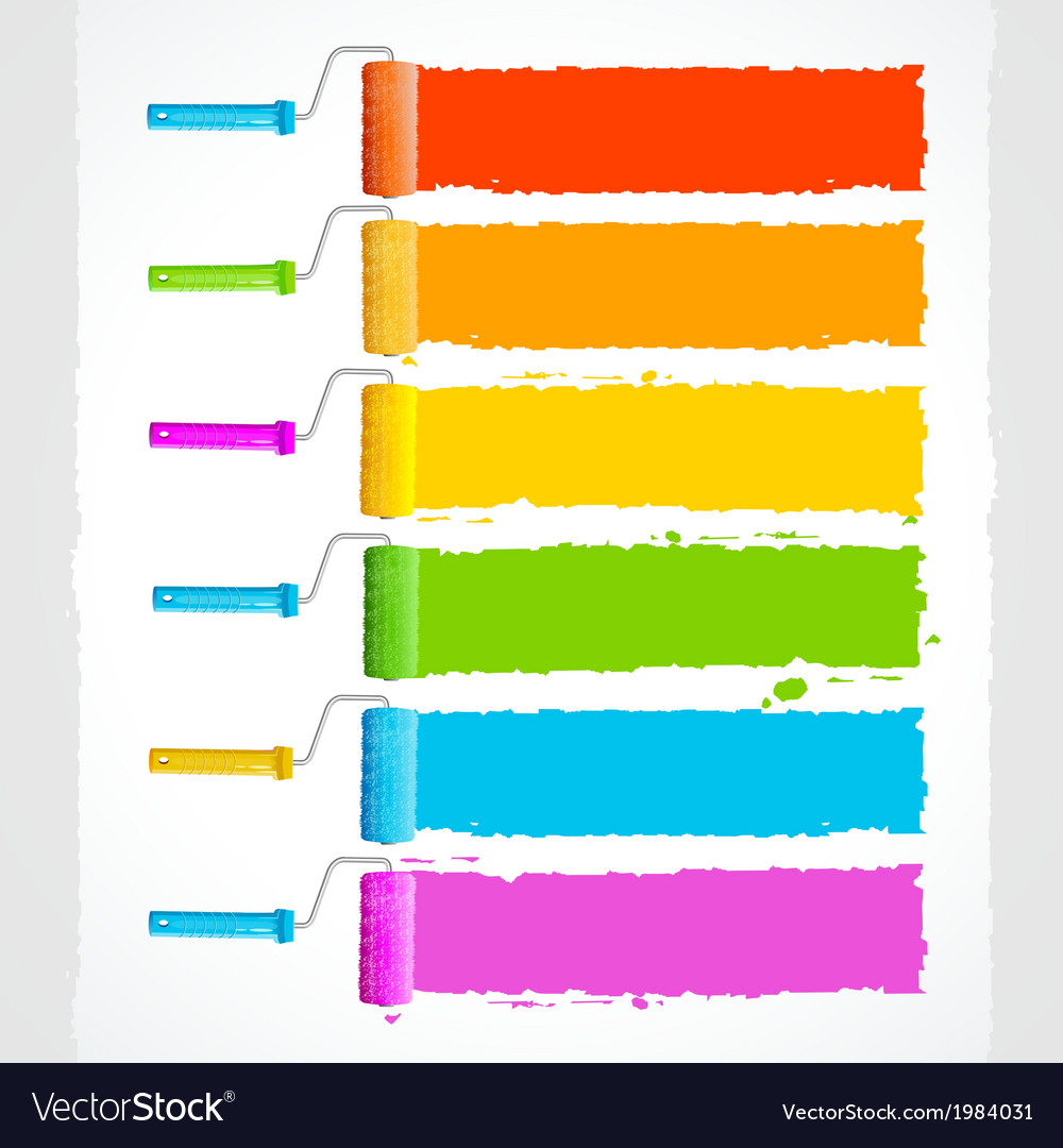 Roller brushes with rainbow colors vector | Price: 1 Credit (USD $1)