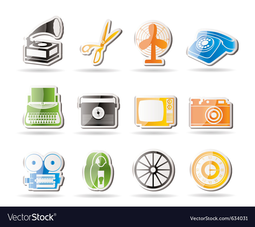 Simple retro business and office object icons vector | Price: 1 Credit (USD $1)