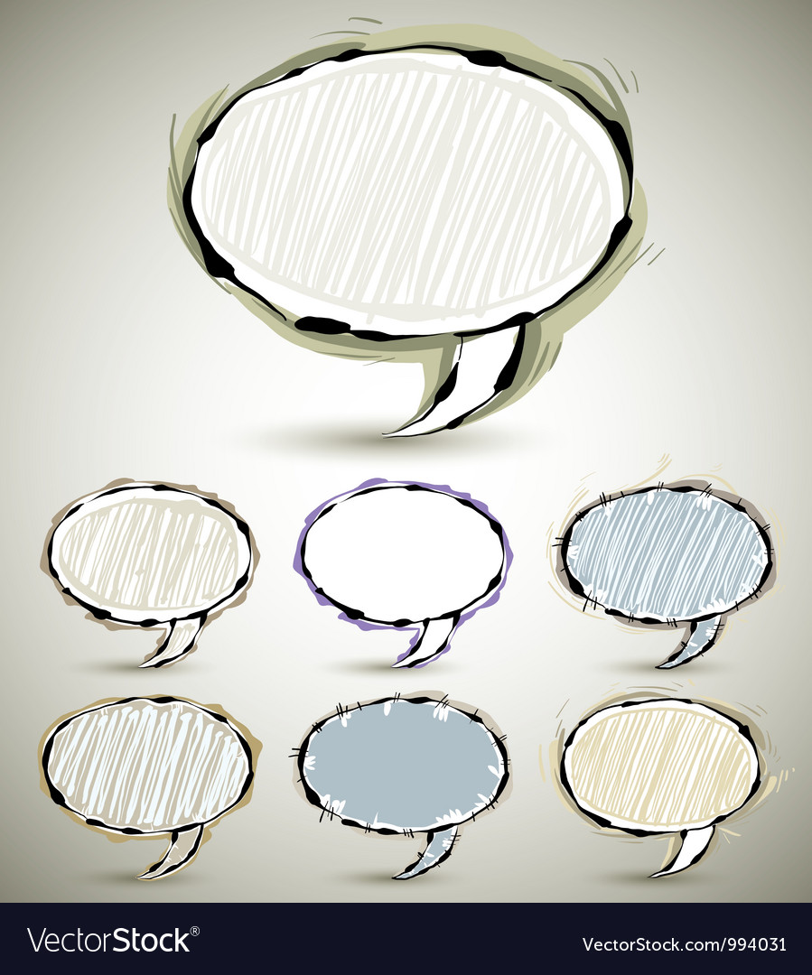 Sketch style speech bubbles vector | Price: 1 Credit (USD $1)