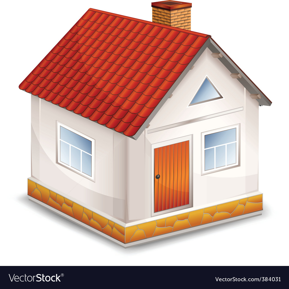 Small village house isolated vector | Price: 1 Credit (USD $1)