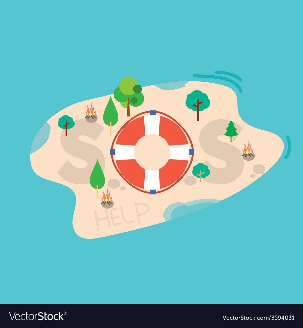 Sos message on the sea island vector | Price: 1 Credit (USD $1)