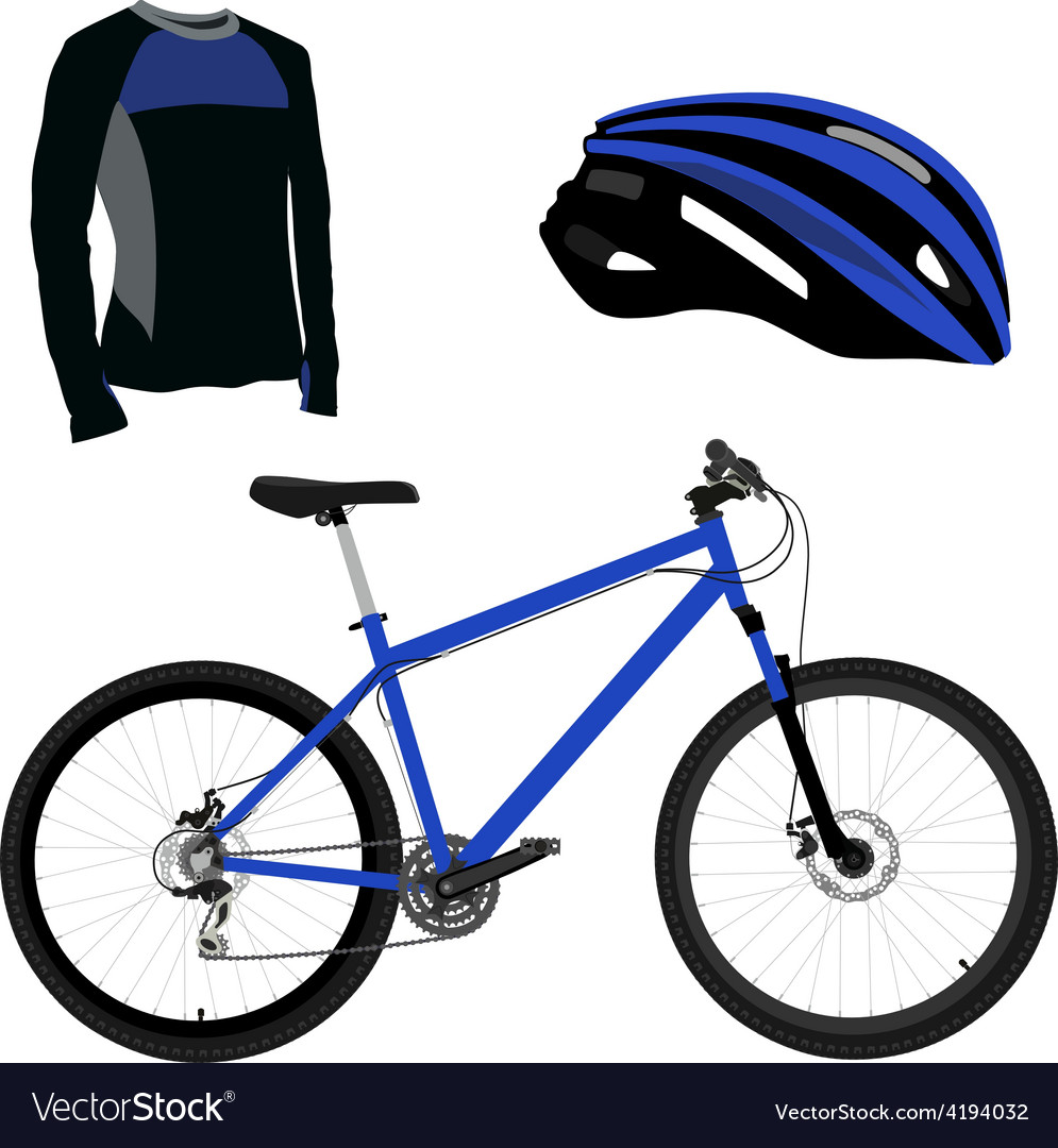 Blue bicycle helmet and shirt vector | Price: 1 Credit (USD $1)