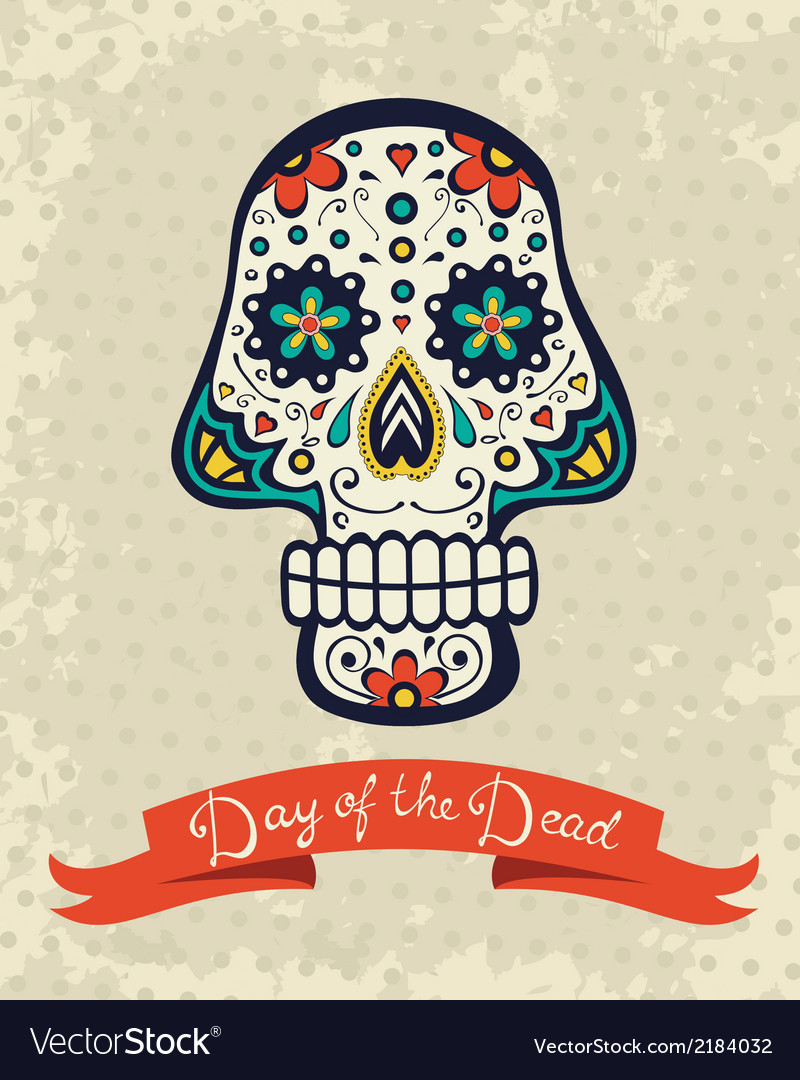 Card with sugar skull vector | Price: 1 Credit (USD $1)