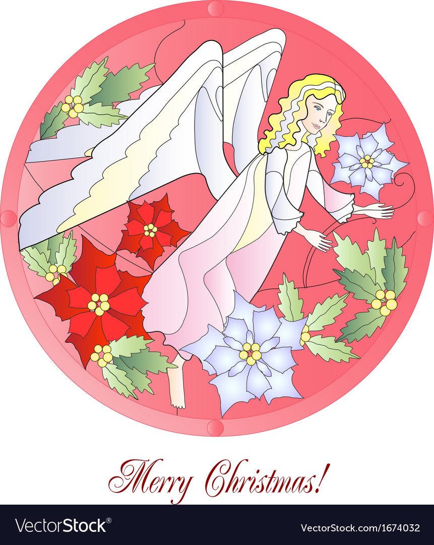 Christmas vitrail red with angel vector   Price: 1 Credit (USD $1)