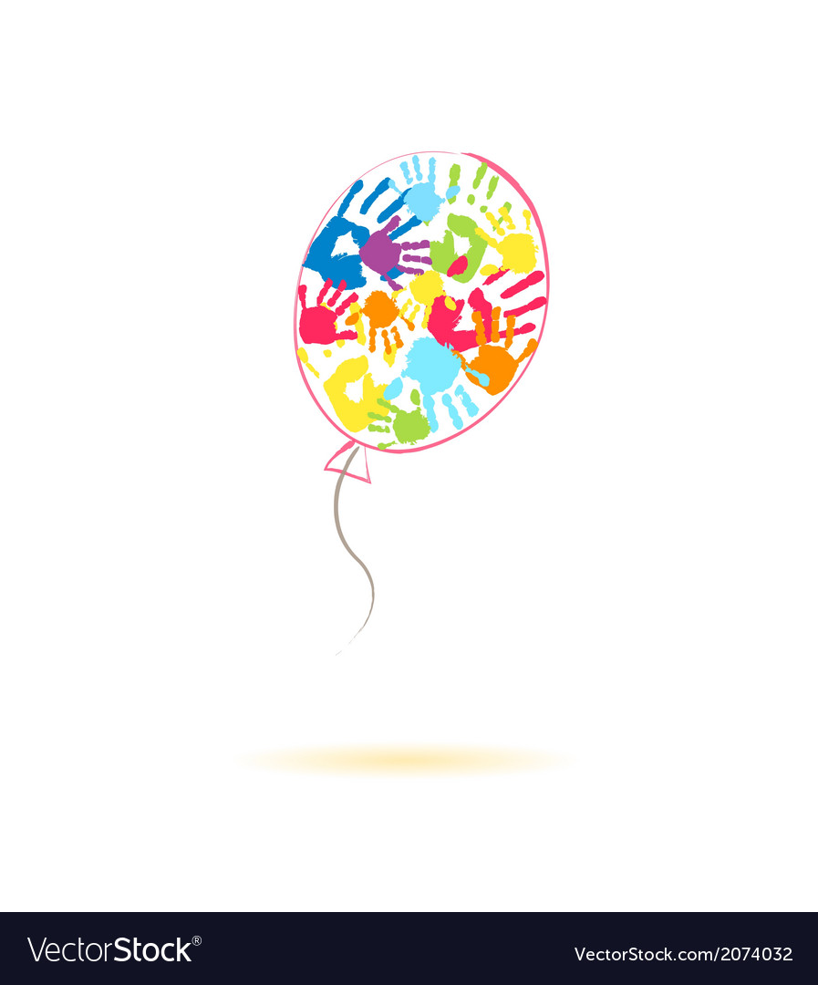 Colorful balloon of the handprints vector | Price: 1 Credit (USD $1)