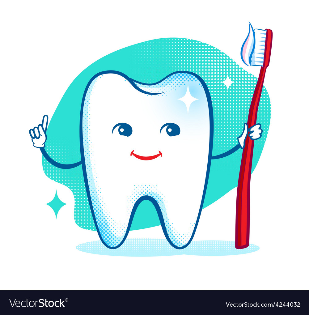 Cute healthy white shiny tooth character vector | Price: 1 Credit (USD $1)