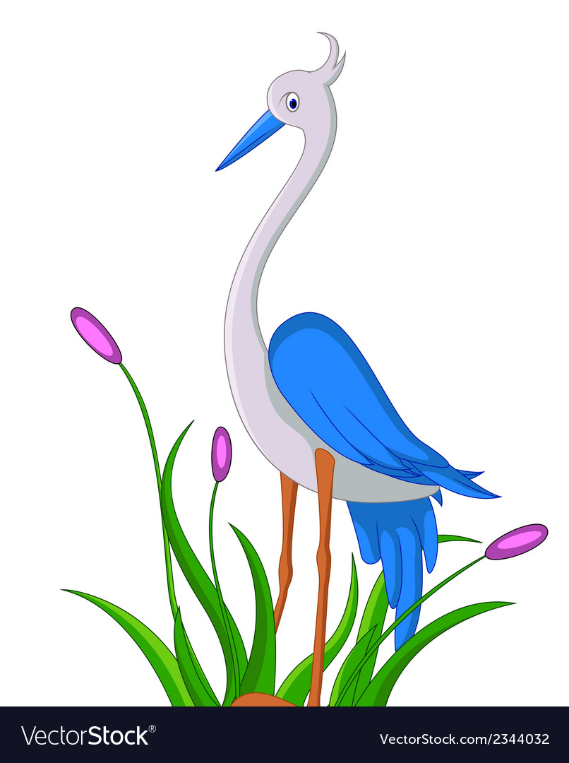 Cute little heron cartoon vector | Price: 1 Credit (USD $1)