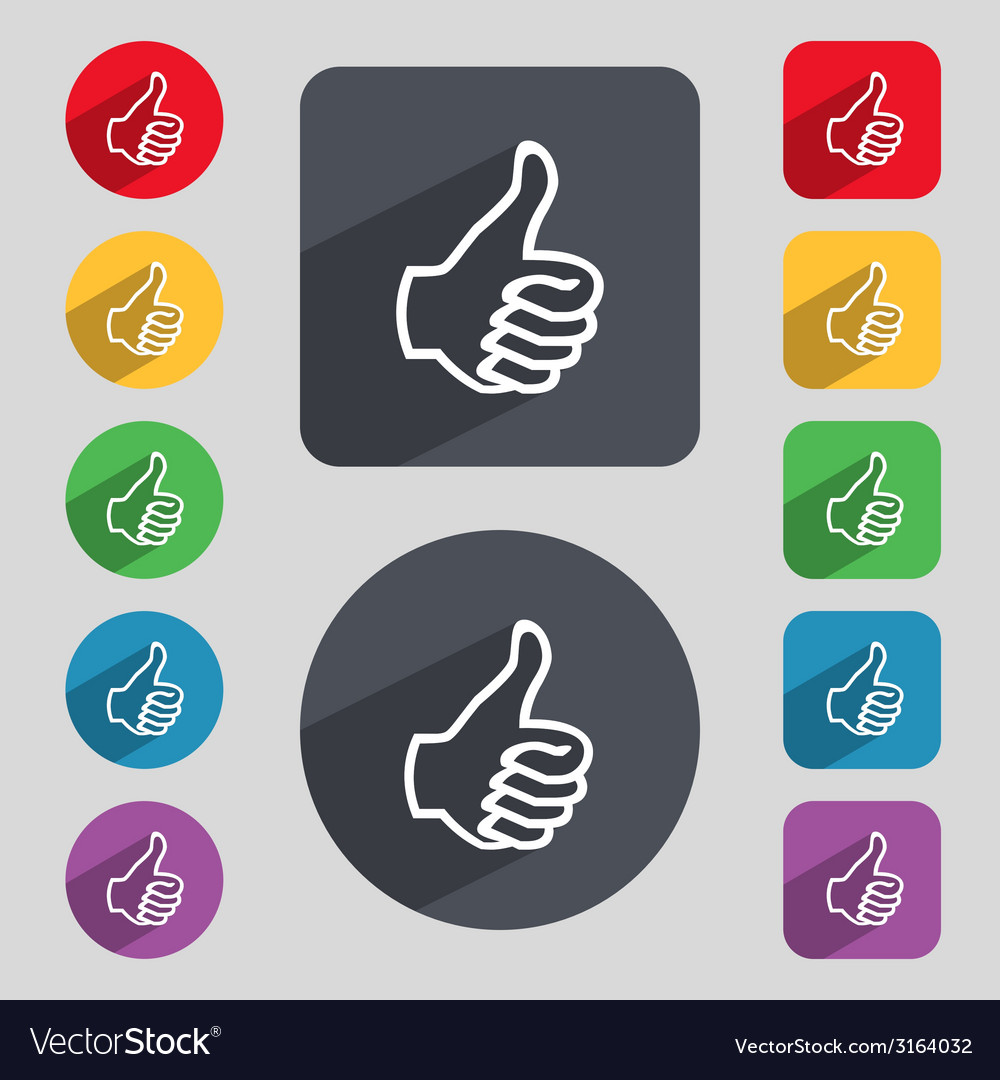Like sign icon thumb up symbol hand finger-up set vector | Price: 1 Credit (USD $1)
