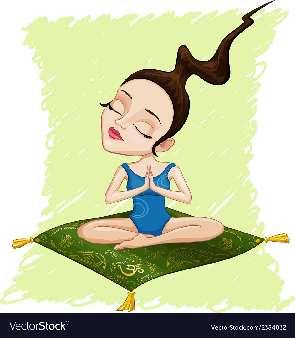 Meditating girl vector | Price: 1 Credit (USD $1)