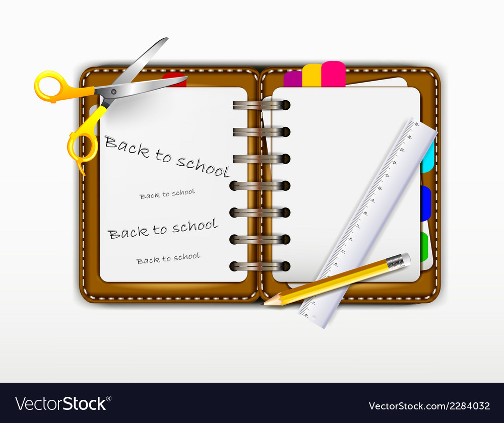 Notepad for you design with ruler and scissors vector | Price: 1 Credit (USD $1)