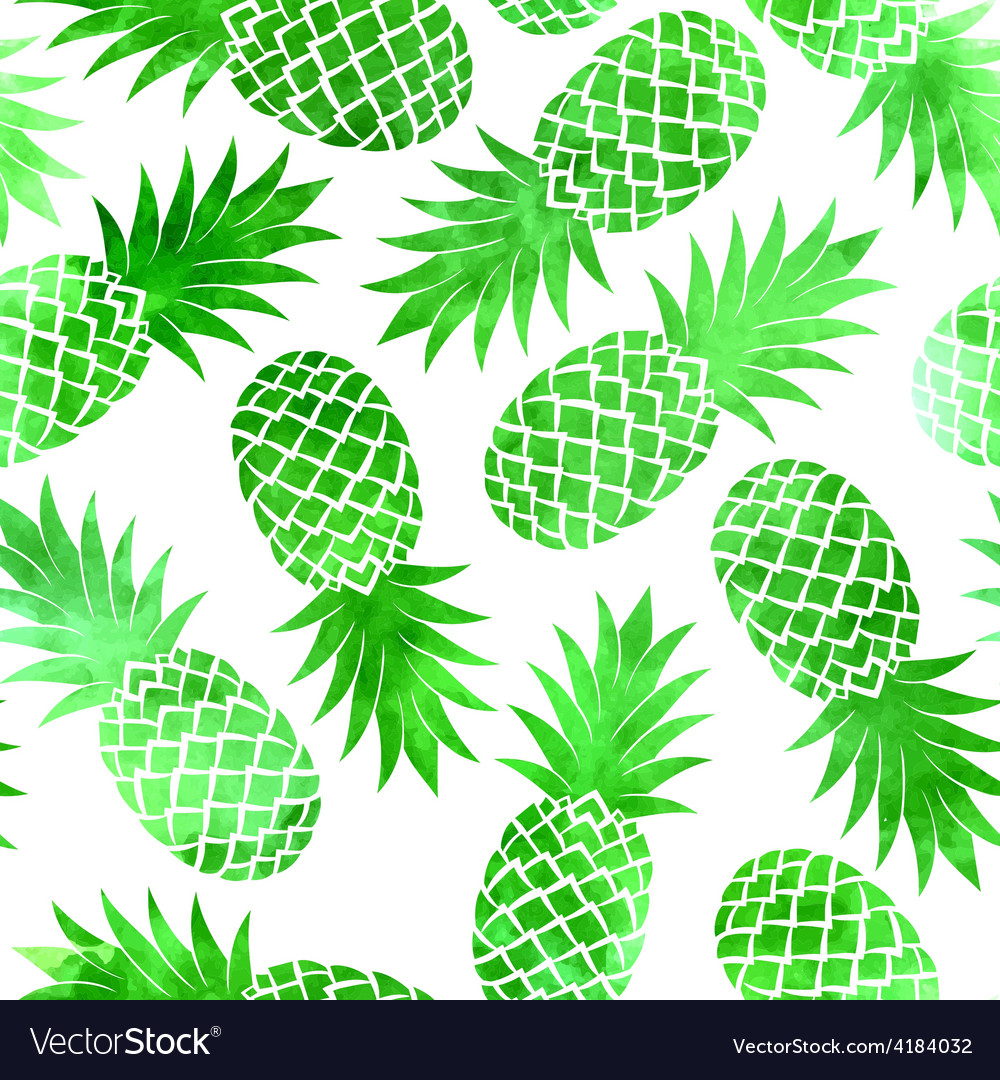 Vintage green watercolor pineapple seamless vector   Price: 1 Credit (USD $1)