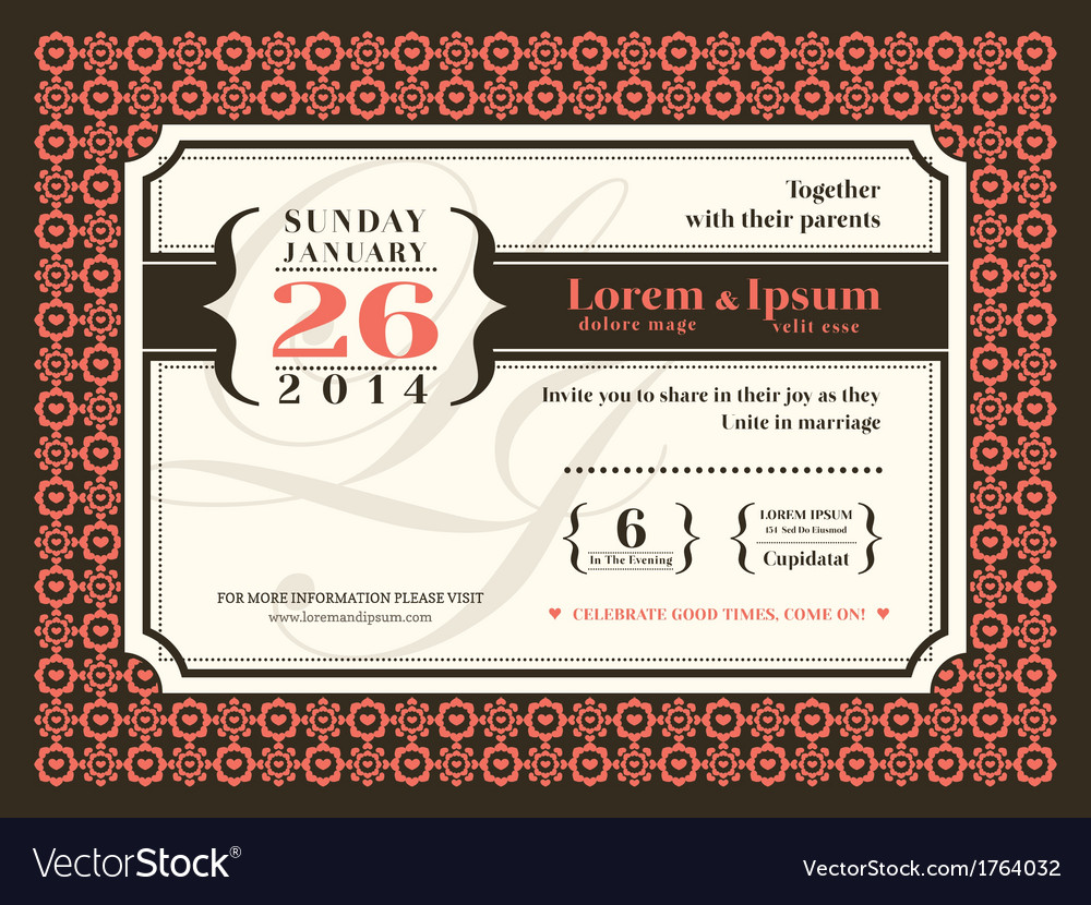 Wedding invitation background border frame vector | Price: 1 Credit (USD $1)