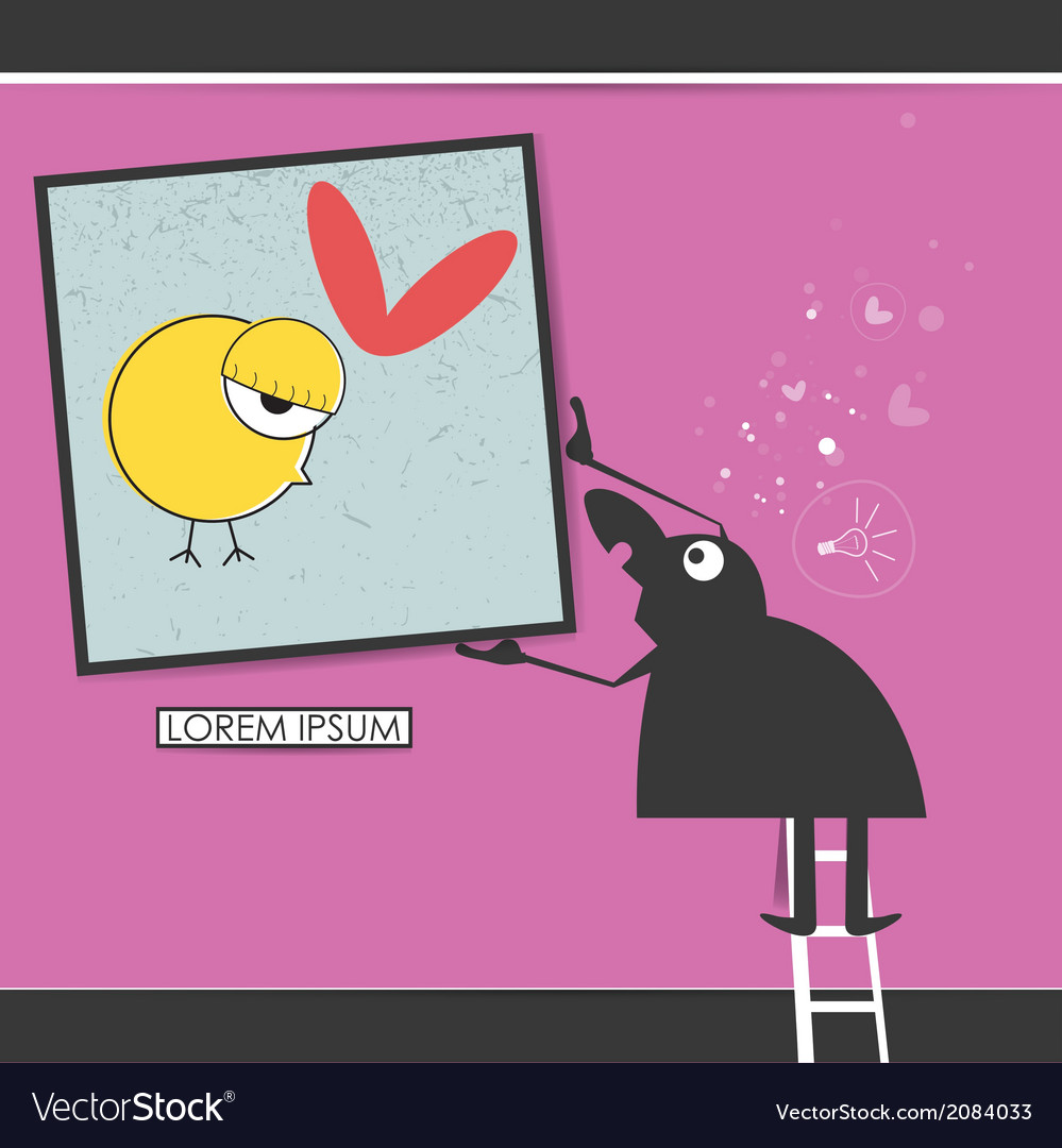 Character in museum with bird in frame vector | Price: 1 Credit (USD $1)